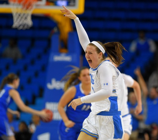 UCLA's Chrissy Baird celebrates a 3-pointer in the second round of the NCAA Women's Basketball Championship at Pauley Pavilion in Westwood on Monday, March 19, 2018. UCLA won 86-64. (Photo by Scott Varley, Contributing Photographer)
